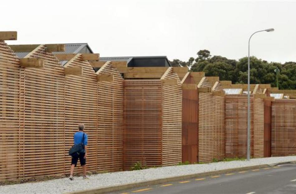 The Dunedin Botanic Garden propagation buildings before the unsuitable limestone chip mistakenly...