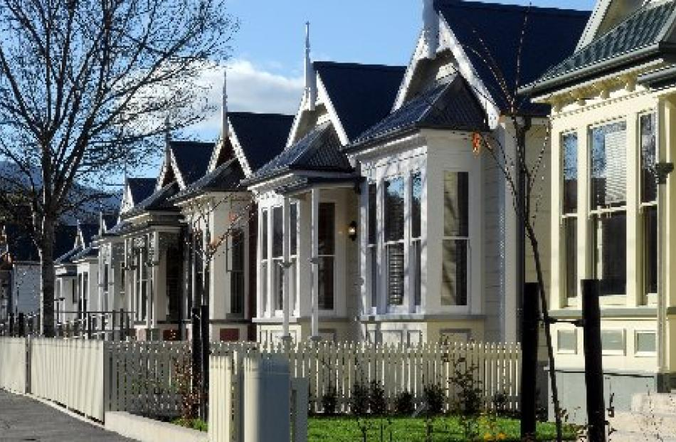 The facades of five villas on Castle St were retained as part of the new University of Otago...
