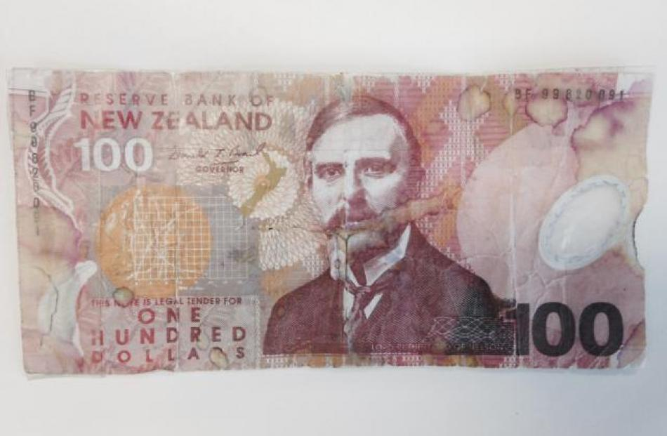 The fake $100 note.