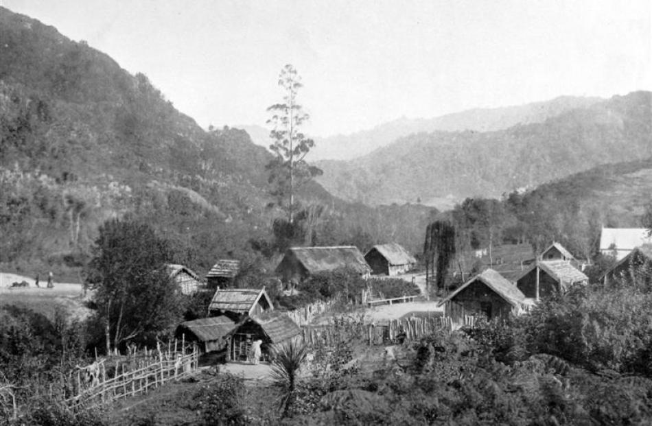 The fast-disappearing villages of the native race:  a Maori kainga at Parenui, near Pahiatua. -...