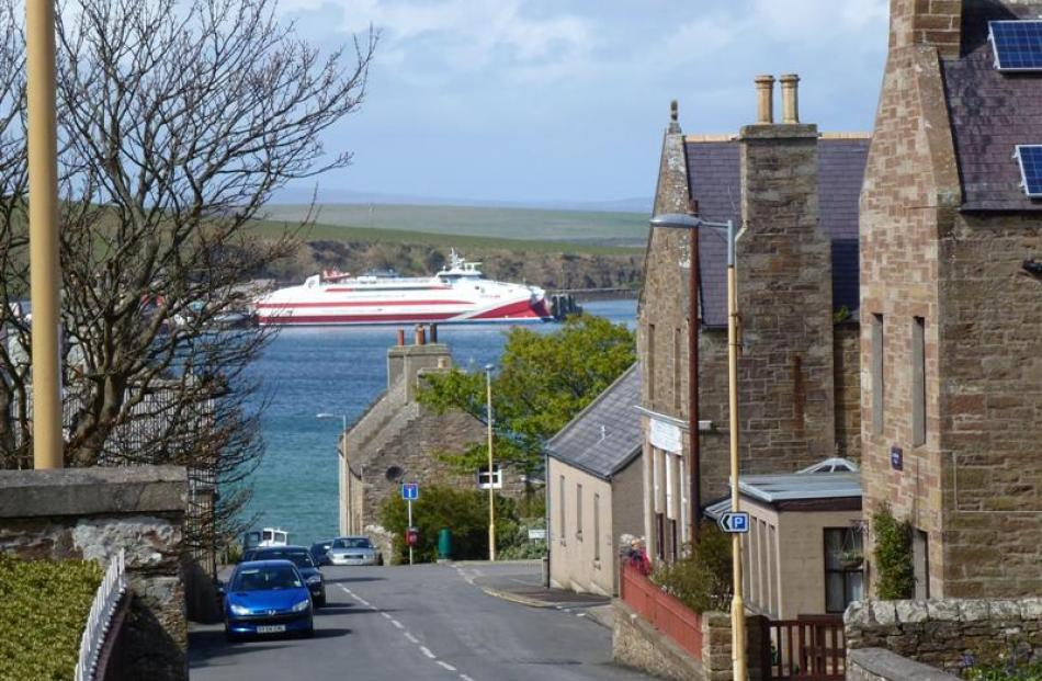 The ferry Pentalina docked at St Margaret's Hope, Mainland, in the Orkney Islands. Photos by...