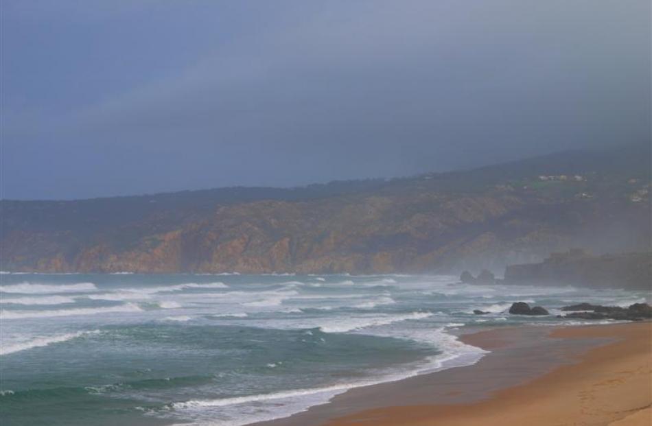 The golden sands of Guincho Beach stretch for miles on a calm morning. Photos by Gwyneth Hyndman.