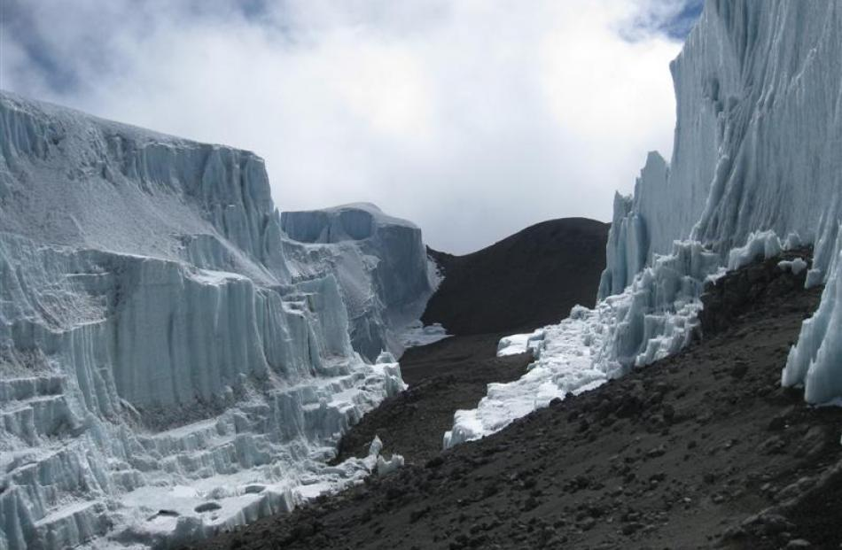The hole in the northern Kilimanjaro ice field discovered by Dr Cullen, of the University of Otago.