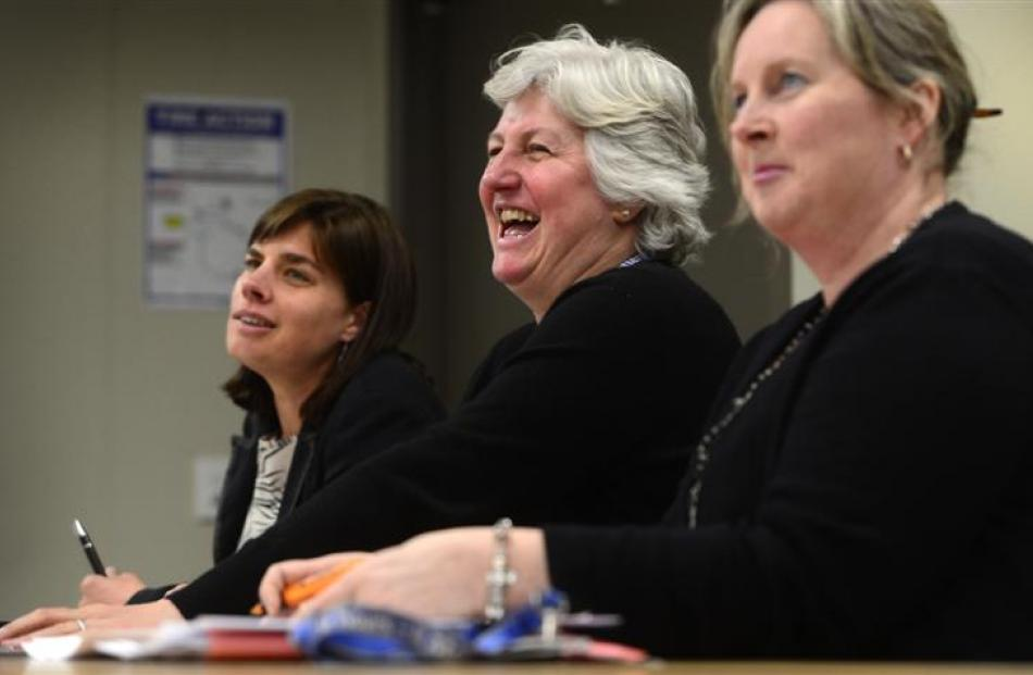 The judges (from left) Westpac private adviser Shelly Joyes, Southern District Health Board chief...