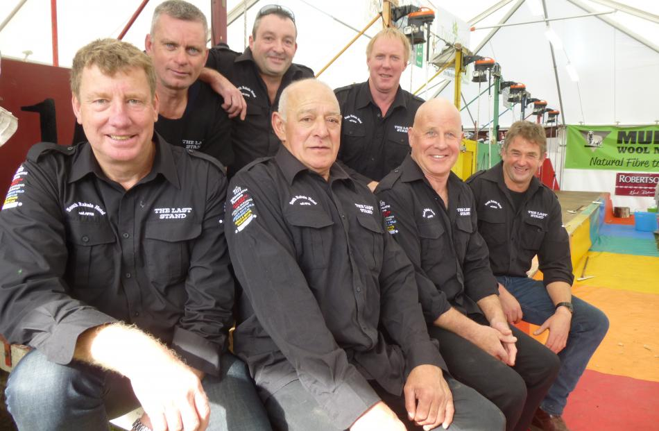 The Last Stand shearing team of (front, from left)  Shearing Sports New Zealand chairman Gavin ...