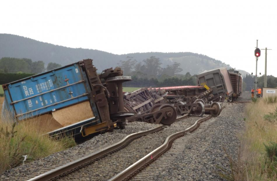 The major derailment just south of the Bushey siding near Palmerston. Photo by Bill Campbell