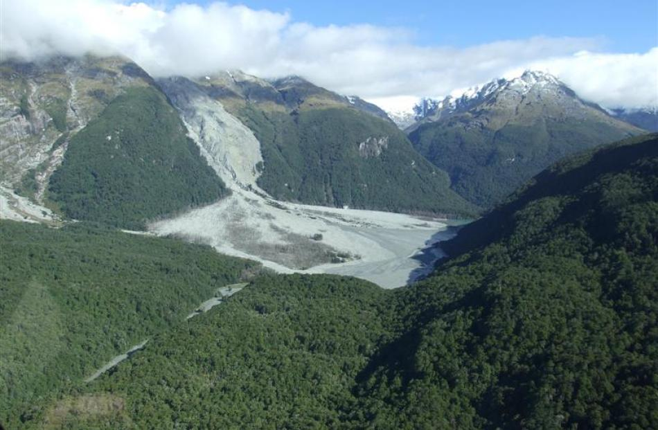 The massive landslip in the Dart Valley within the Te Koroka/Slip Stream area at Sandy Bluff,...