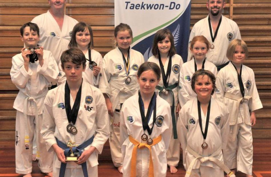 The Mosgiel Taekwondo Club with its medal haul after the International Taekwondo South Island...