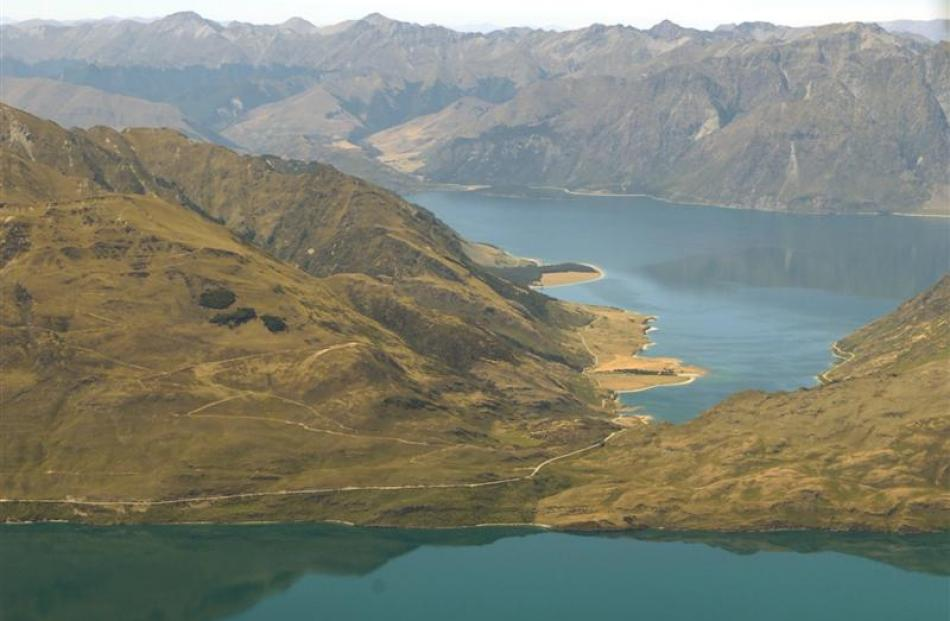 Lake Hawea and the Neck in the backgbround, and Lake Wanaka in the foreground. Photo by Stephen...