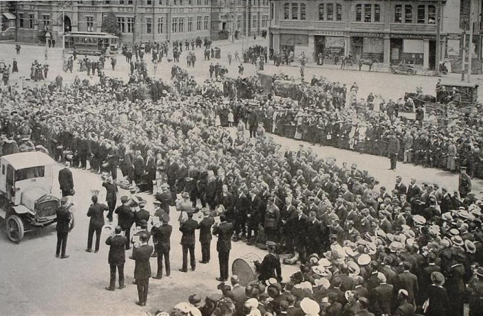The Otago and Southland members of the 23rd Reinforcements line up in front of Dunedin Railway...