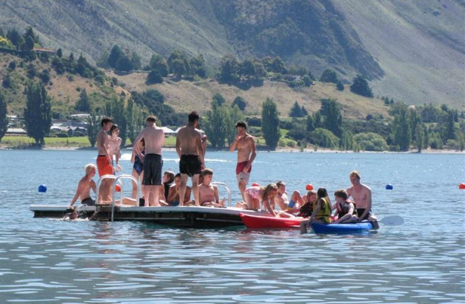 The pontoon in Roys Bay, Lake Wanaka, was put to good use yesterday. Photo by Lucy Ibbotson.
