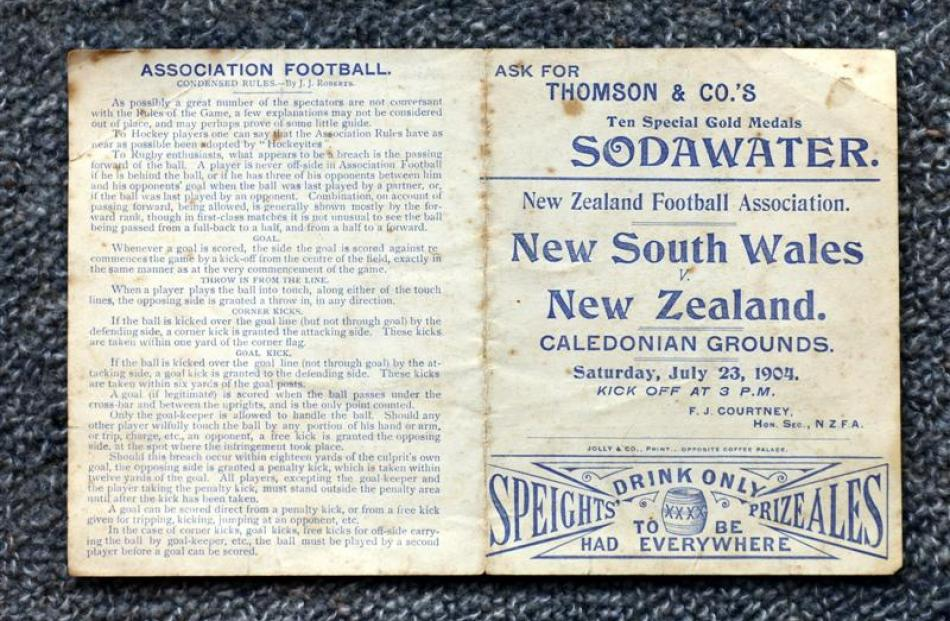 The programme for New Zealand's 1904 game against New South Wales at the Caledonian Grounds in...