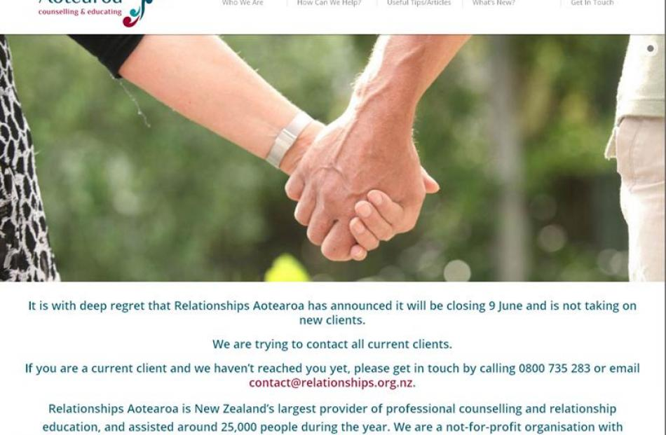 The Relationships Aotearoa website home page yesterday announces its closure.