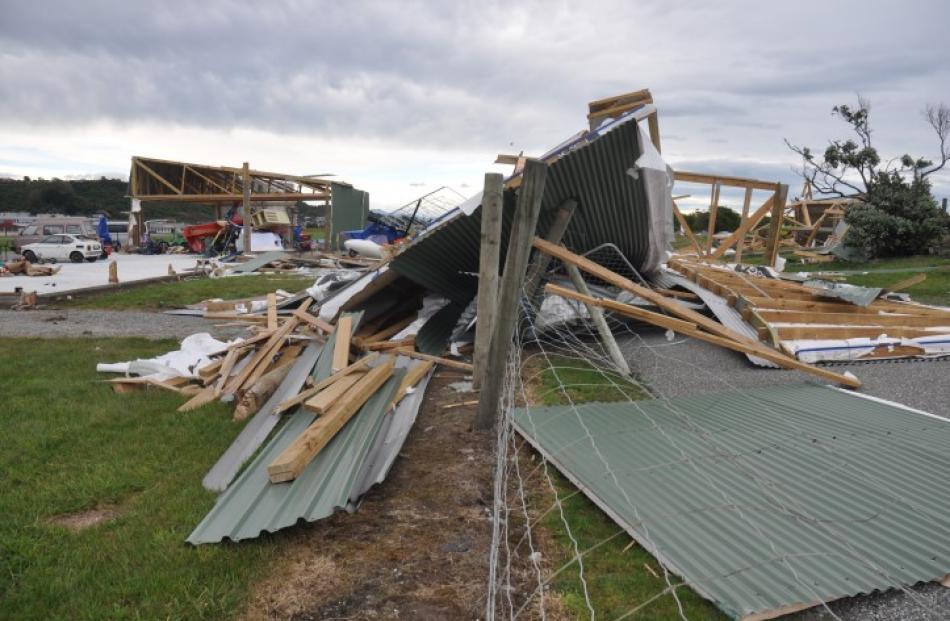The remains of a hangar at the Greymouth aerodrome. Photos Greymouth Star