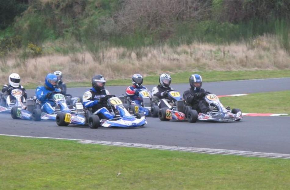 The rotax 125cc heavy class final race at Silverstream Raceway on Sunday. Photos by Bruce Quirey.