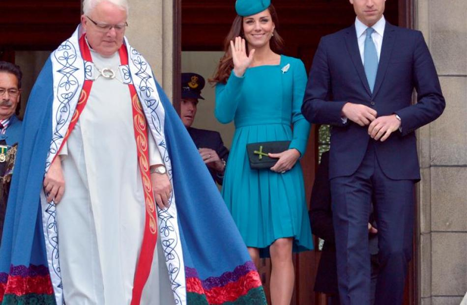 The Royal couple leave the cathedral with the Dean, the Very Rev Dr Trevor James.