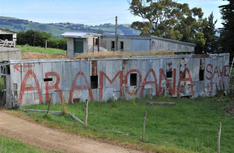 The Save Aramoana sign, as it was in 2005. Photo by Stephen Jaquiery.