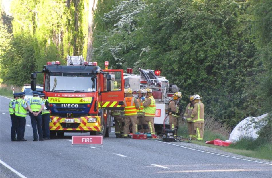 The scene of a fatal car accident on Malaghans Rd,  yesterday morning.  Photo by Tracey Roxburgh