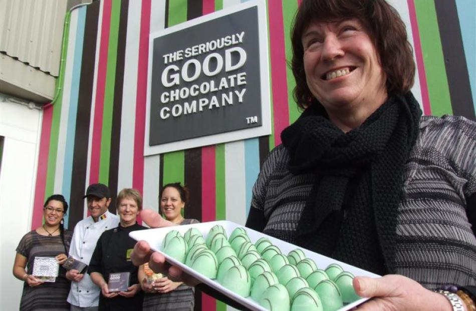 The Seriously Good Chocolate Company owner Jane Stanton (front) and staff (from left) Bridgette...