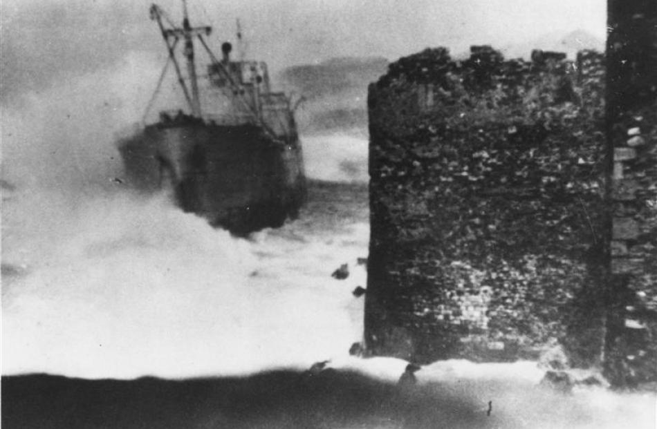 The ship 'Sebastiano Venier' ('Jason') aground at Point Methoni, Greece, December 1941.