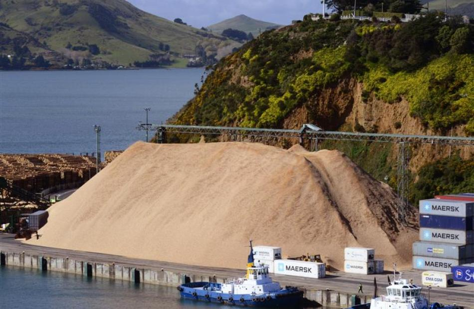 The stockpile of woodchips at Beach St berth is about to be reduced. Photo by Peter McIntosh.