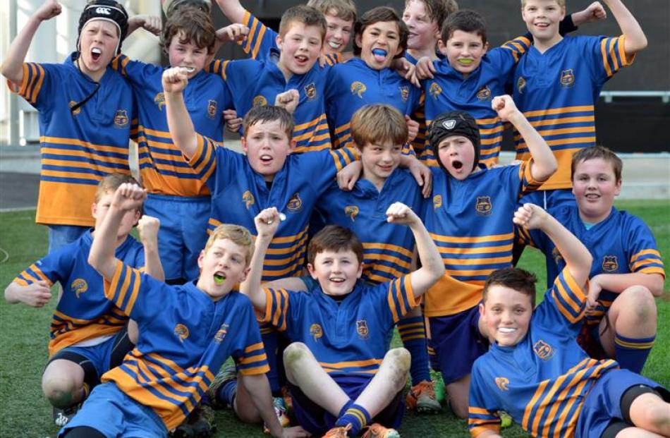 The Taieri Blue under-11 rugby team,  winners over Pirates in the final at the Forsyth Barr...