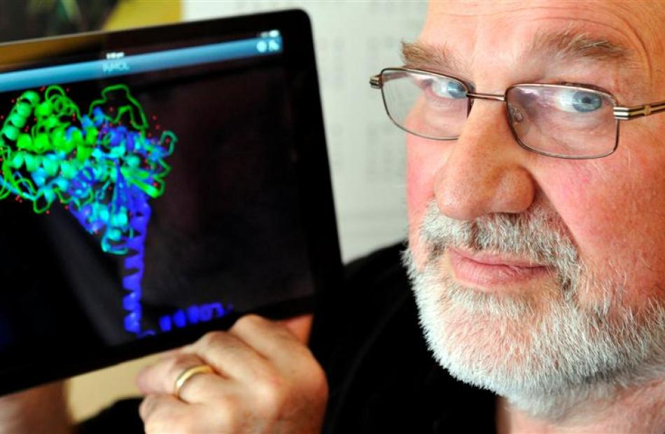 The University of Otago's Dr Brian Monk shows the structure of a cell membrane protein, which is...