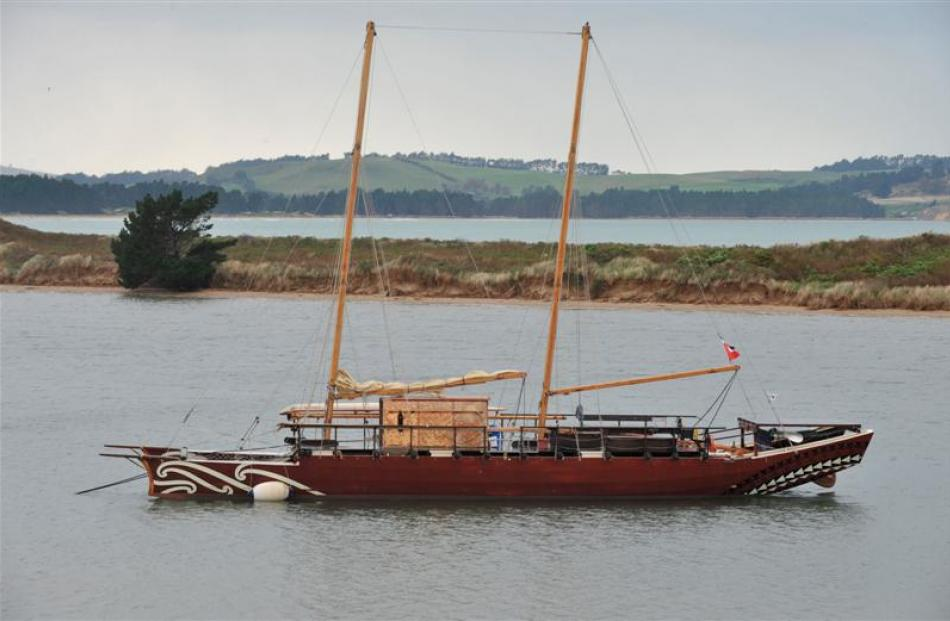 The waka  Haunui  moored at Karitane yesterday. Photo by Gregor Richardson.