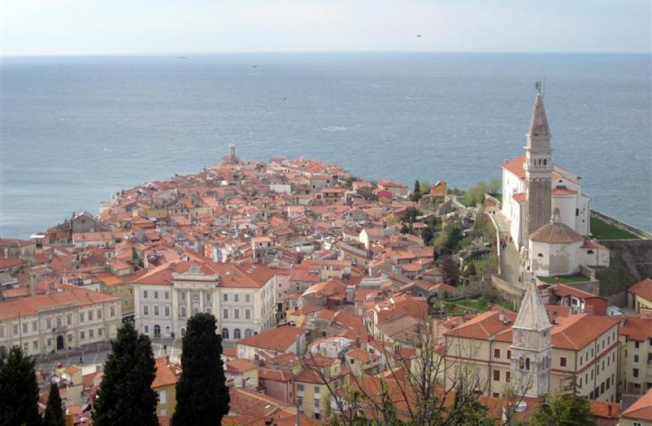 The walled city of Piran juts into the Adriatic like the prow of a ship. Photos by Diana Noonan.