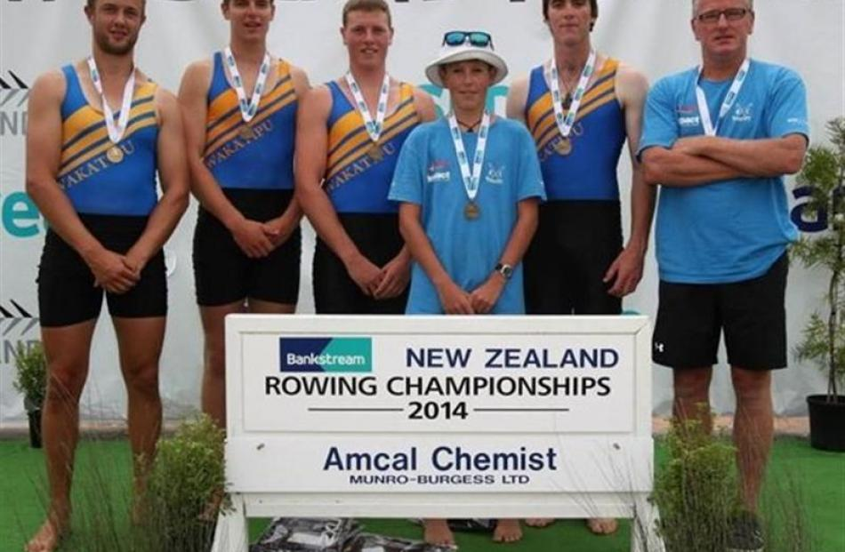The winning Wakatipu Rowing Club four (from left) Chris Johnson, Willem van der Kaag, Reid Long,...