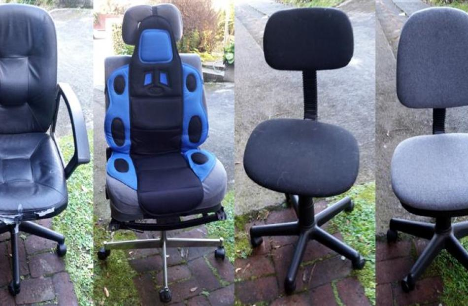 The writer's four office chairs, pictured in order of acquisition. Photo supplied.