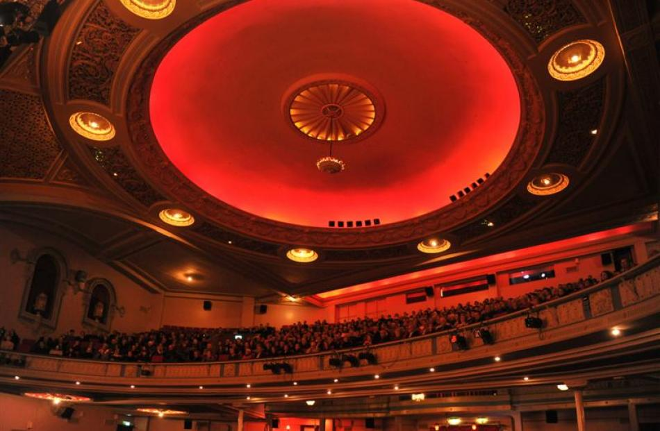 Theatre-goers enjoy the refurbished splendour of Dunedin's Regent Theatre during a special...