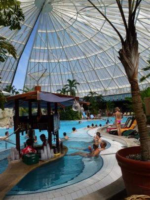 Therme Erding, inside the complex, near the cocktail bar. Photos by Marjorie Cook.