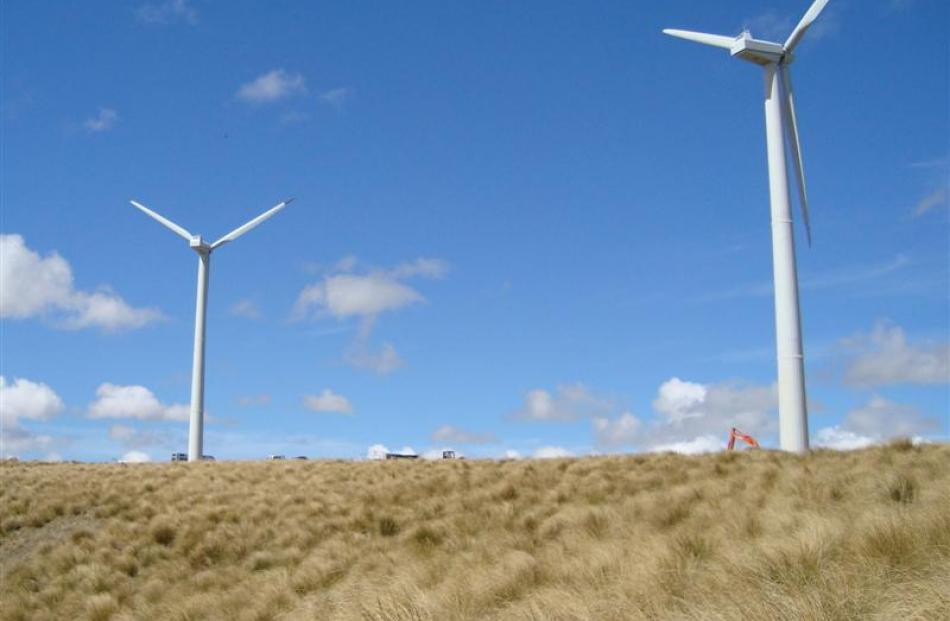 These wind towers near Roxburgh should soon be generating Otago's first wind-powered electricity.