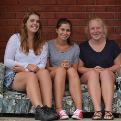 Third-year University of Otago students (from left) Rebecca Jackson, Paige Searing and Eilish...