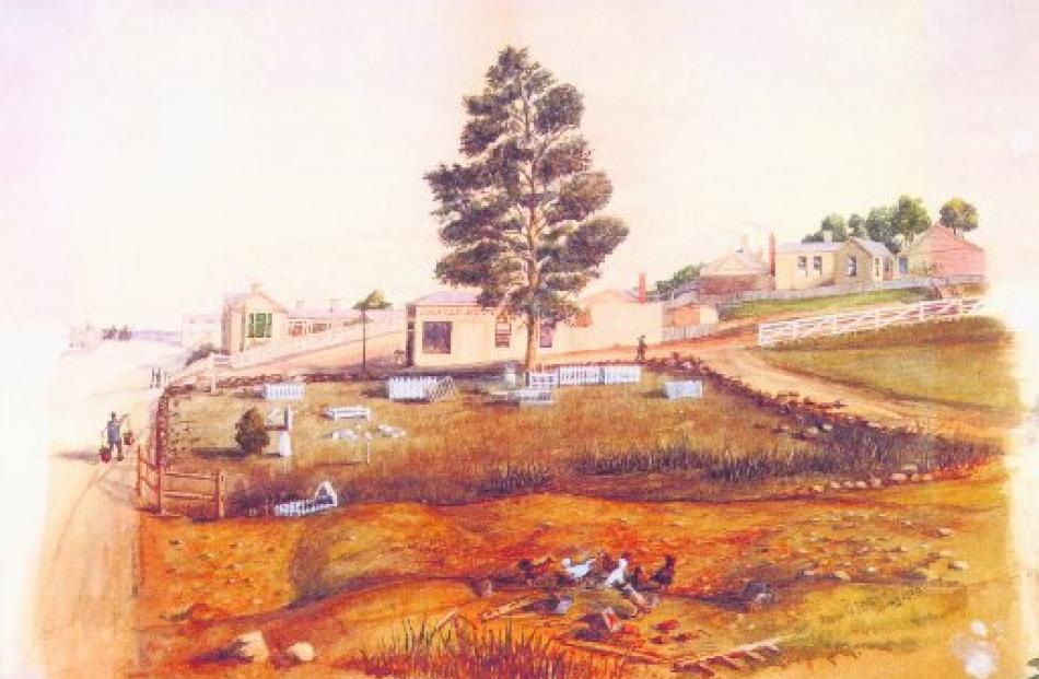 This watercolour by George Sinclair shows the neglected state of the disused cemetery in Arthur...