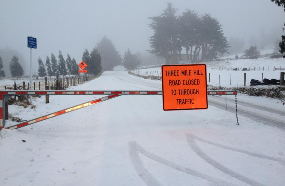 Three Mile Hill is closed because of snow. Photo by Shawn McAvinue