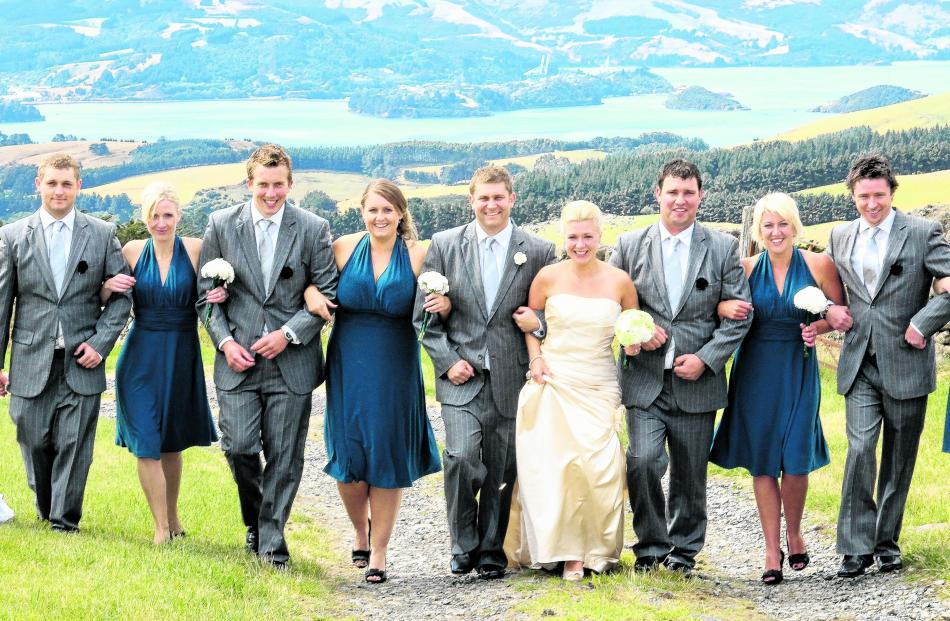 Toby Schuck and Leanne Vakatini are pictured on their wedding day at Alexandra with their...