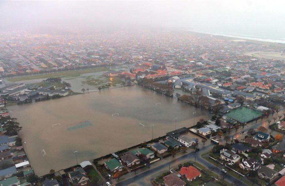 Tonga Park is under water in the floods which inundated south Dunedin in June. Photo by Stephen...