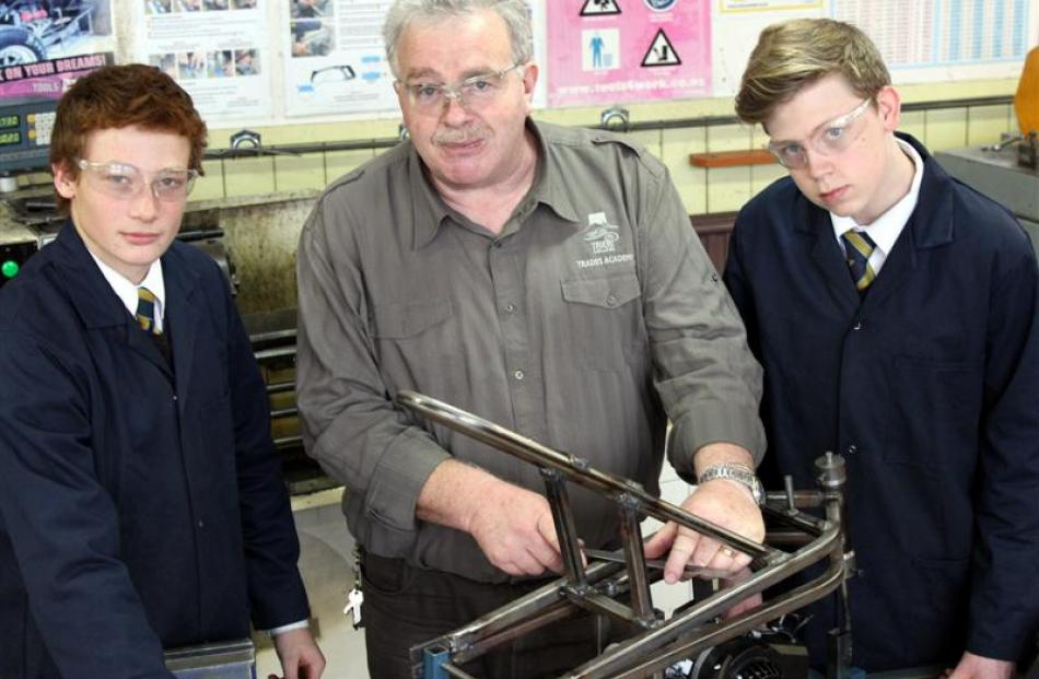 Trades Academy director Graeme Watson with  Caleb Johnson (left) and Thomas Trotter (both 17)....