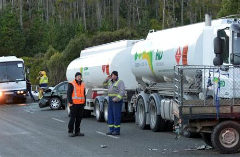 Traffic comes to a halt on the Northern Motorway yesterday morning after a crash involving a ute,...