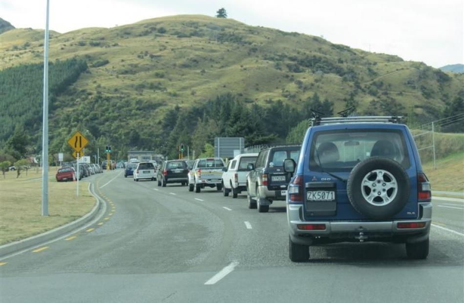 Traffic is often reduced to a crawl during peak times  on  Kawarau Rd at Frankton. Photo by James...