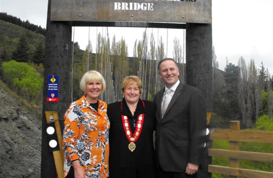 Trails Trust chief executive Kaye Parker (left), Queenstown Lakes District Mayor Vanessa van Uden...