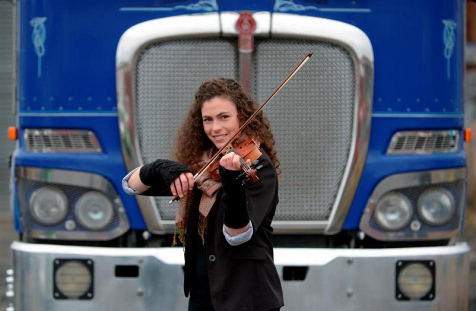Truck driver turned violinist Karla Norton in Dunedin yesterday. Photo by Gerard O'Brien.