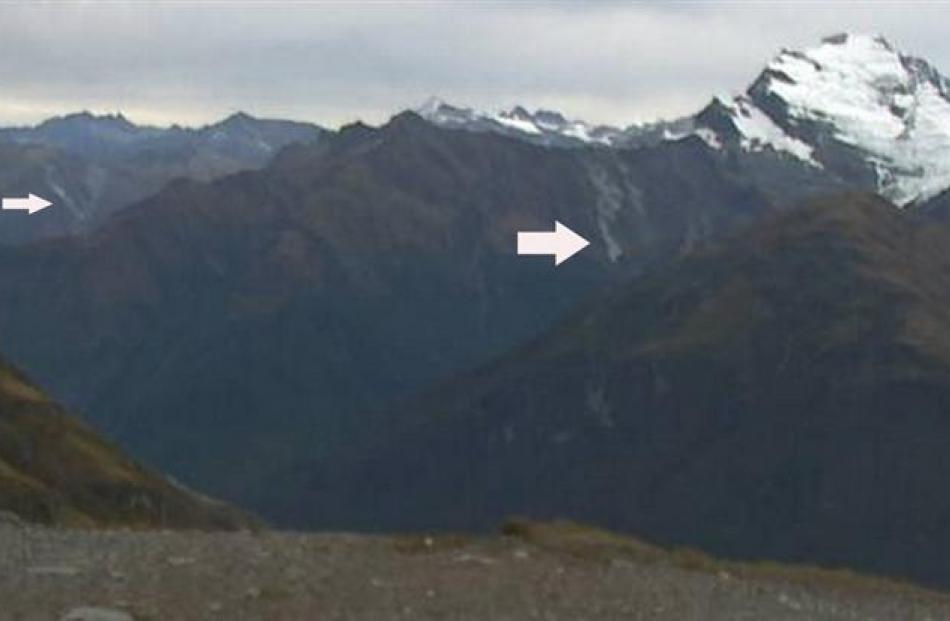 Two rockfalls were caught on the WhareKea Lodge webcam, at Wanaka yesterday, looking towards Mt...