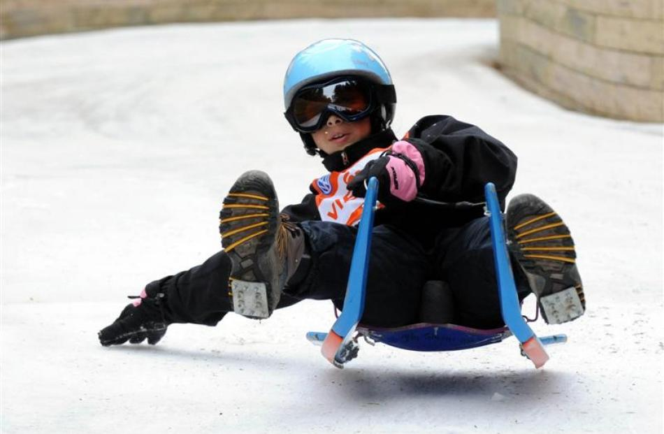 Tyla Toheriri O-Neill flies down the track during the natural luge event in Naseby at the 2009...