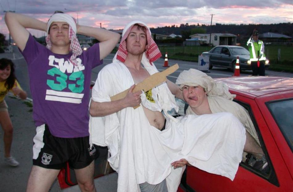 University of Canterbury students (from left) Robbie Bell, Michael Calder and Richard Richardson...