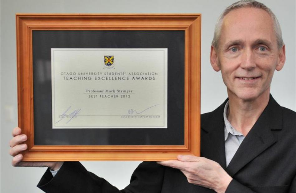 University of Otago award-winner for top lecturer, Prof Mark Stringer. Photo by Jane Dawber.