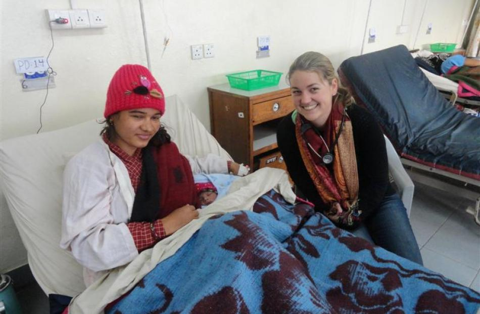 University of Otago School of Medicine student Kerry Short visits a patient in the obstetric ward...