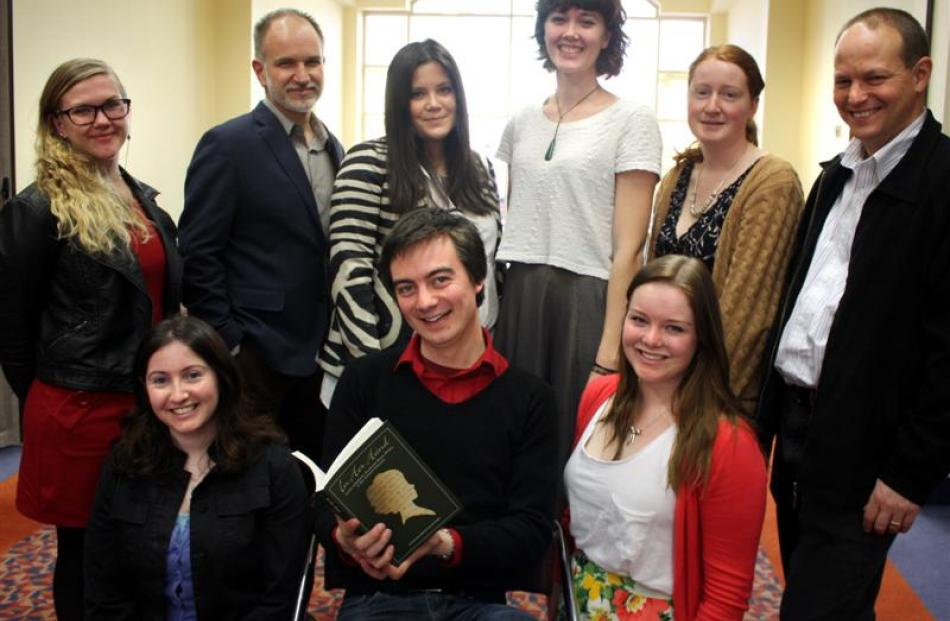University of Otago students and their tutors involved in the In her Hand publication. Back row ...